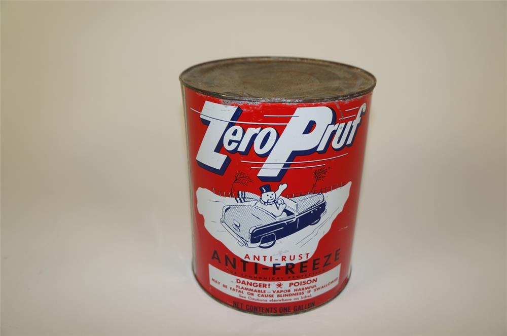 1950's Zero Pruf Anti-Freeze one gallon metal tin with car graphic. - Front 3/4 - 181985