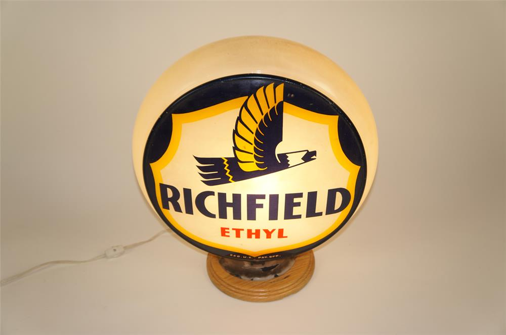 1940's Richfield Ethyl Gasoline Gill bodied glass gas pump globe - Front 3/4 - 181993