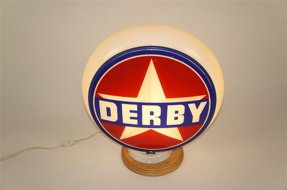 1940's Derby Gasoline Gill bodied glass gas pump globe. - Front 3/4 - 181994