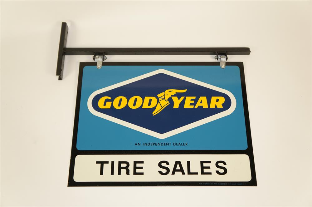 NOS. Goodyear Tires double-sided tin automotive garage sign in the original hanger! - Front 3/4 - 181997