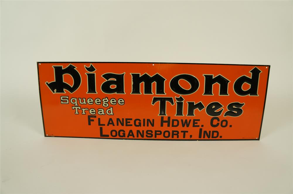 "1920's-30's Diamond Tires ""Squeege Tread"" single-sided embossed tin sign - Front 3/4 - 182001"
