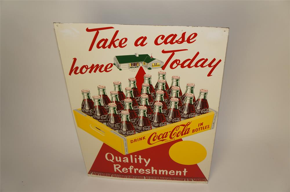 "1952 Coca-Cola ""Take a case home today"" single-sided tin sign - Front 3/4 - 182003"