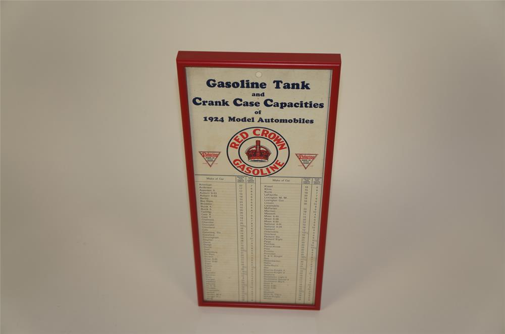 1924 Red Crown Gasoline Tank and Crank Case Capacities service station cardboard chart. - Front 3/4 - 182005