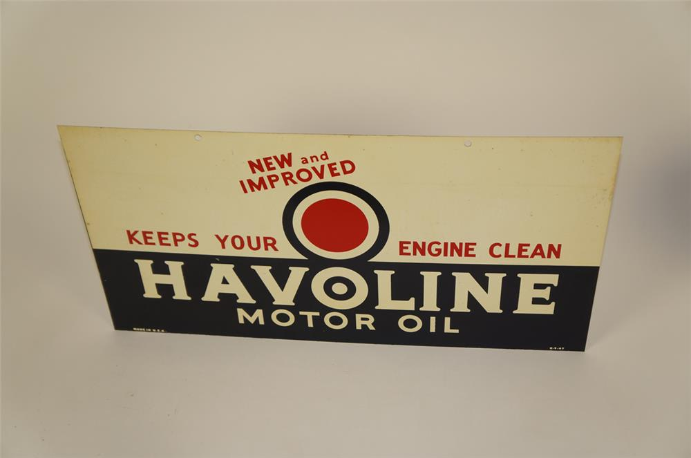 NOS. 1947 Texaco Havoline Motor Oil double-sided tin service station sign. - Front 3/4 - 182007