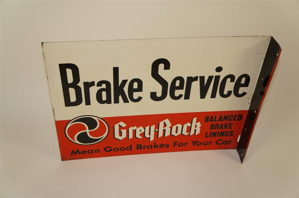 1950's Grey-Rock Brake Service double-sided tin automotive garage sign. - Front 3/4 - 182008