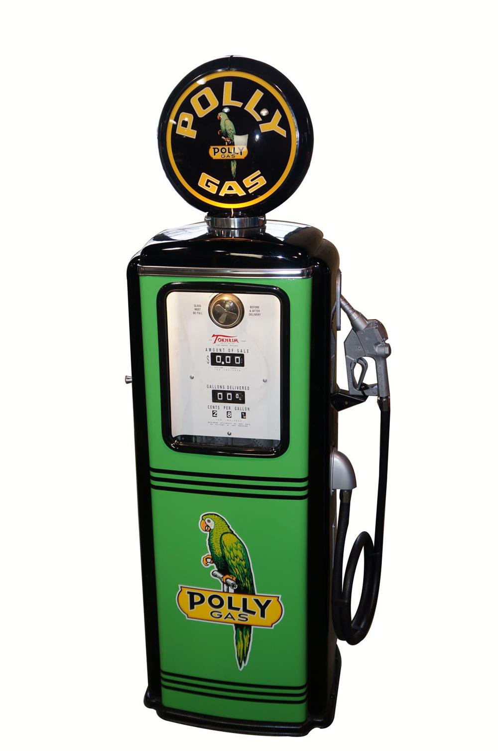 Late 1940's-early 1950's Polly Oil Tokheim model 39 restored service station gas pump. - Front 3/4 - 182018