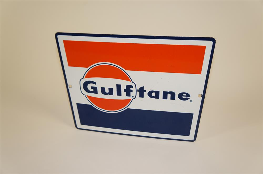 "Late 1950's-eary 60's Gulf Oil ""Gulftane"" single-sided porcelain pump plate sign - Front 3/4 - 182025"