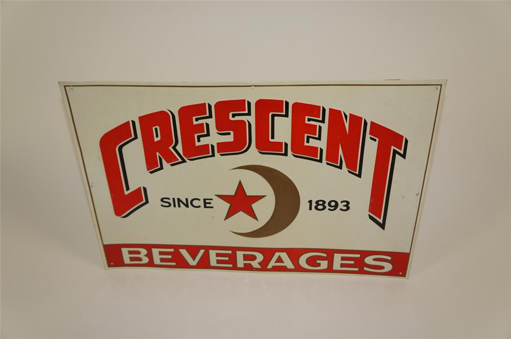 NOS 1940's Crescent Soda Beverages of New Orleans single-sided self-framed embossed tin sign. - Front 3/4 - 182028