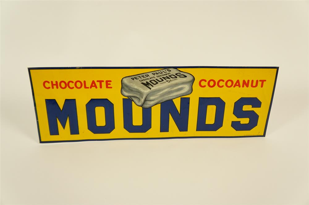 1920's NOS Mounds Chocolate Bars single-sided embossed tin sign - Front 3/4 - 182030