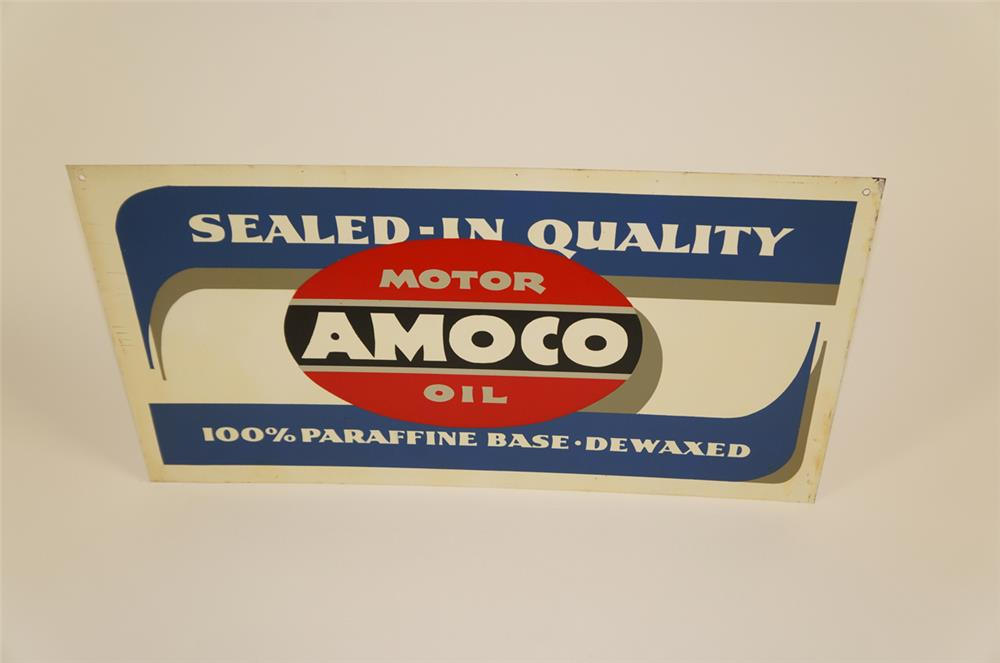NOS 1940's-50's Amoco Motor Oil single-sided tin service station sign. - Front 3/4 - 182031