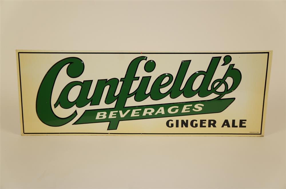 NOS Canfield's Beverages Ginger Ale single-sided embossed tin sign. - Front 3/4 - 182033