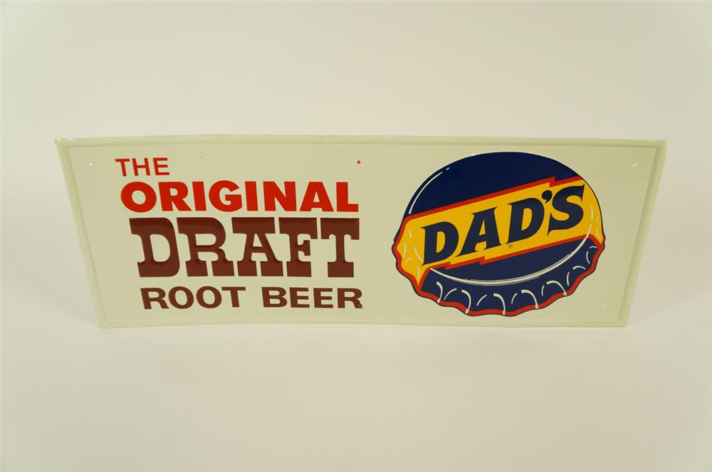 NOS late 1960's Dad's Original Root Beer single-sided embossed tin sign. - Front 3/4 - 182035