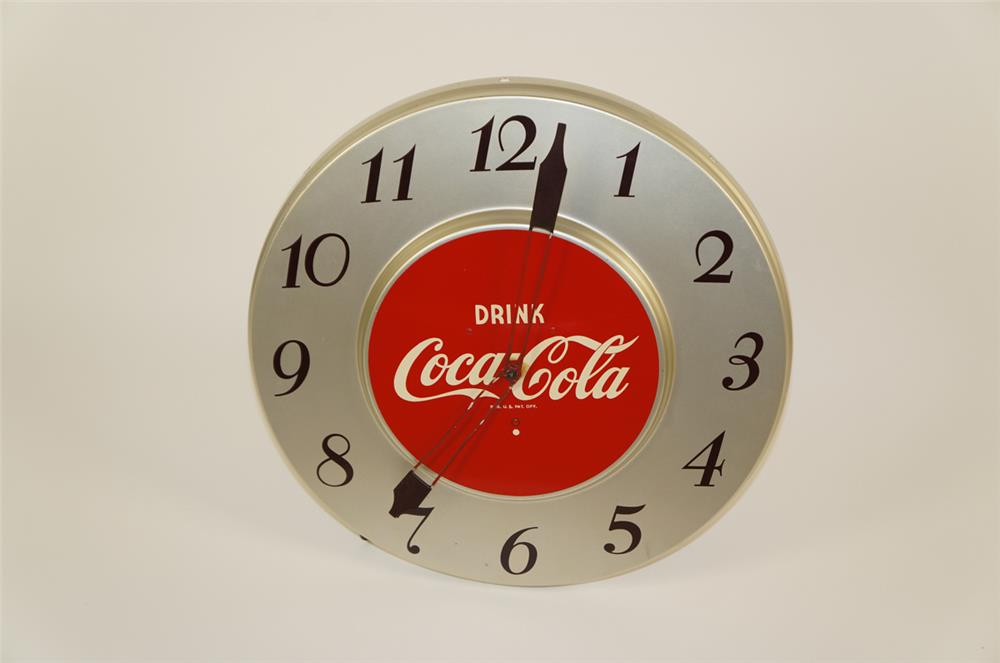 1950's Drink Coca-Cola die-cut tin electric advertising clock. - Front 3/4 - 182036