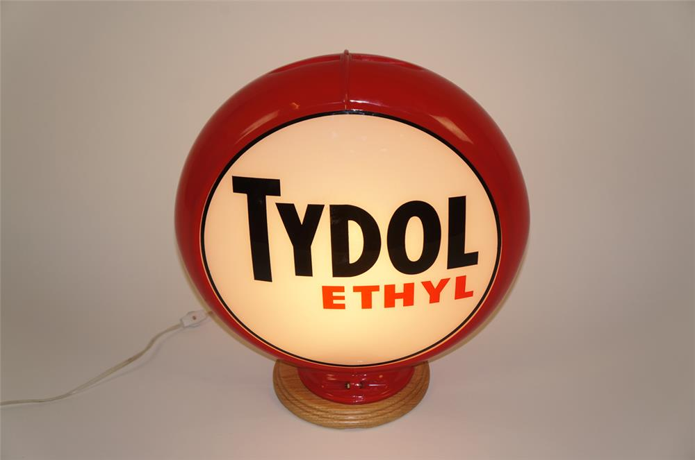 1940's-50's Tydol Ethyl Gasoline gas pump globe in a Capcolite body. - Front 3/4 - 182038
