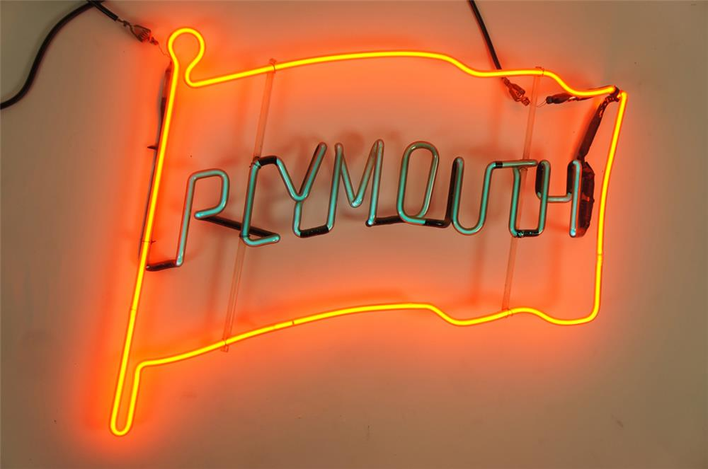 1950's Plymouth Automobiles dealership showroom sales neon sign. - Front 3/4 - 182044