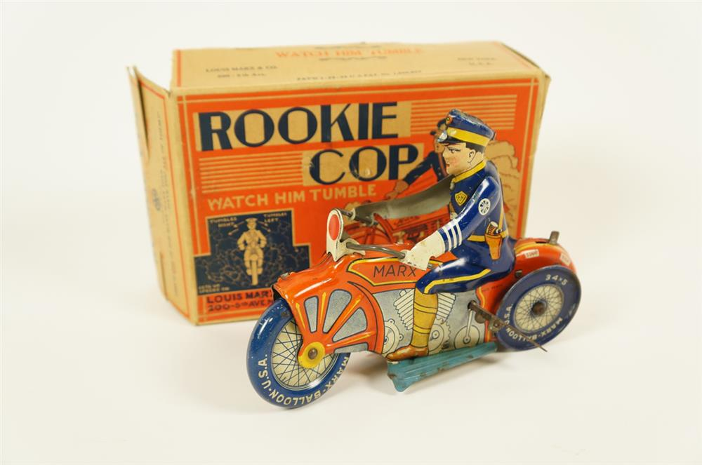 NOS 1932 Marx Rookie Motorcycle Cop tin litho wind-up toy - Front 3/4 - 182046