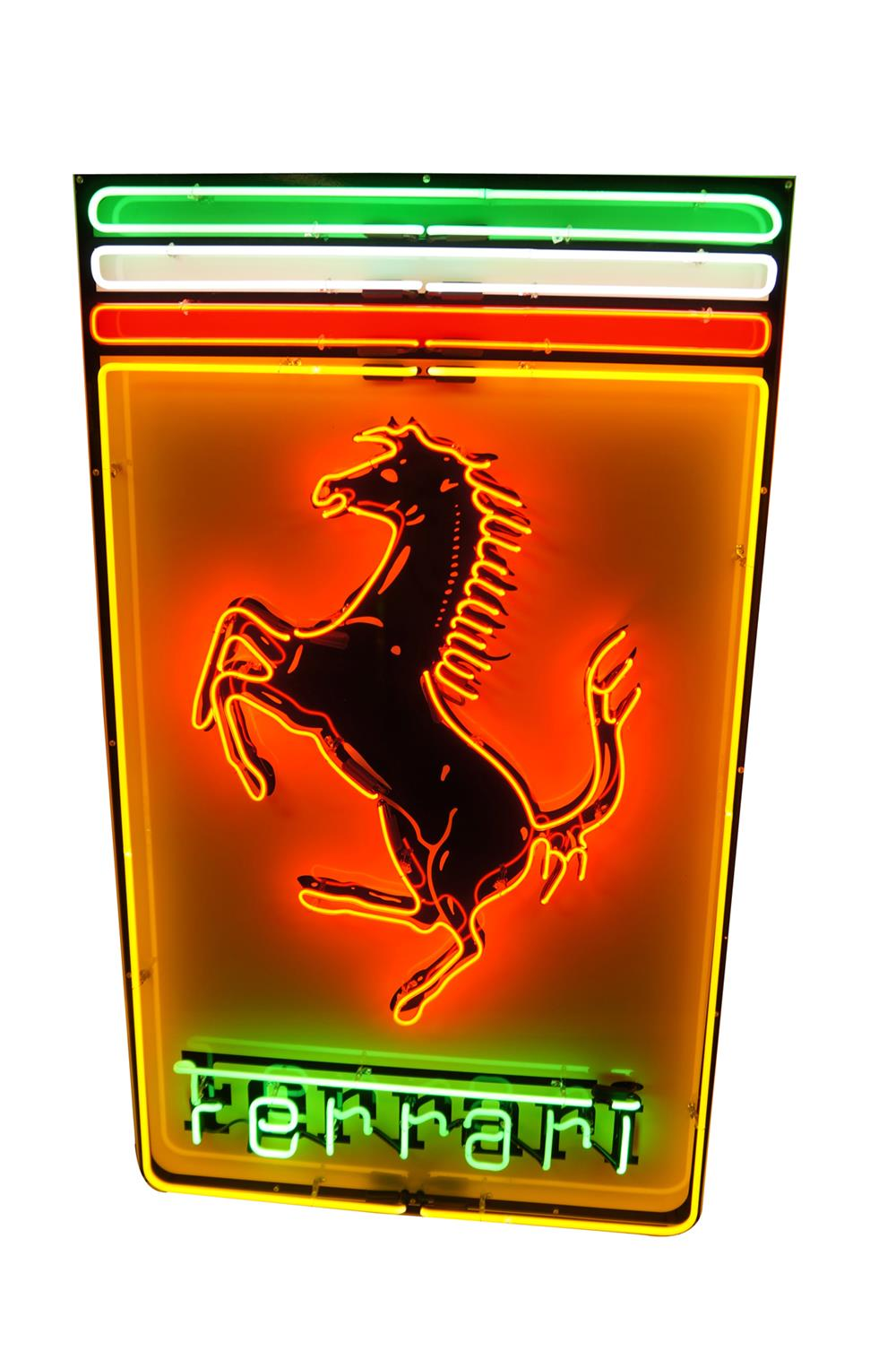 Large late model Ferrari Automobiles single-sided neon dealership sign - Front 3/4 - 182047
