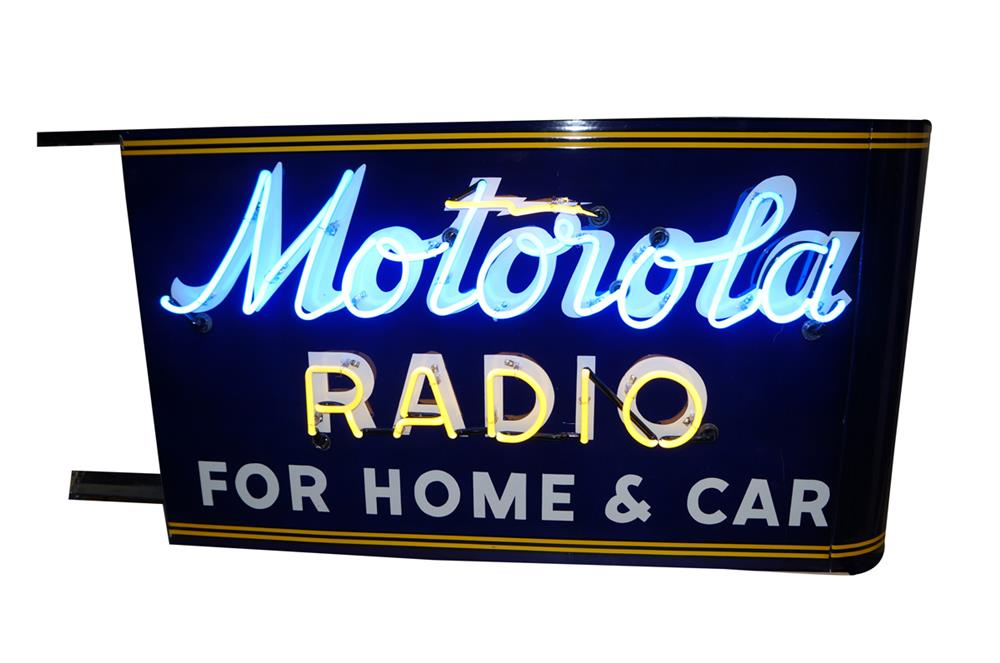 Amazing 1940's Motorola  Radio for Home and Car double-sided neon porcelain dealership sign. - Front 3/4 - 182049