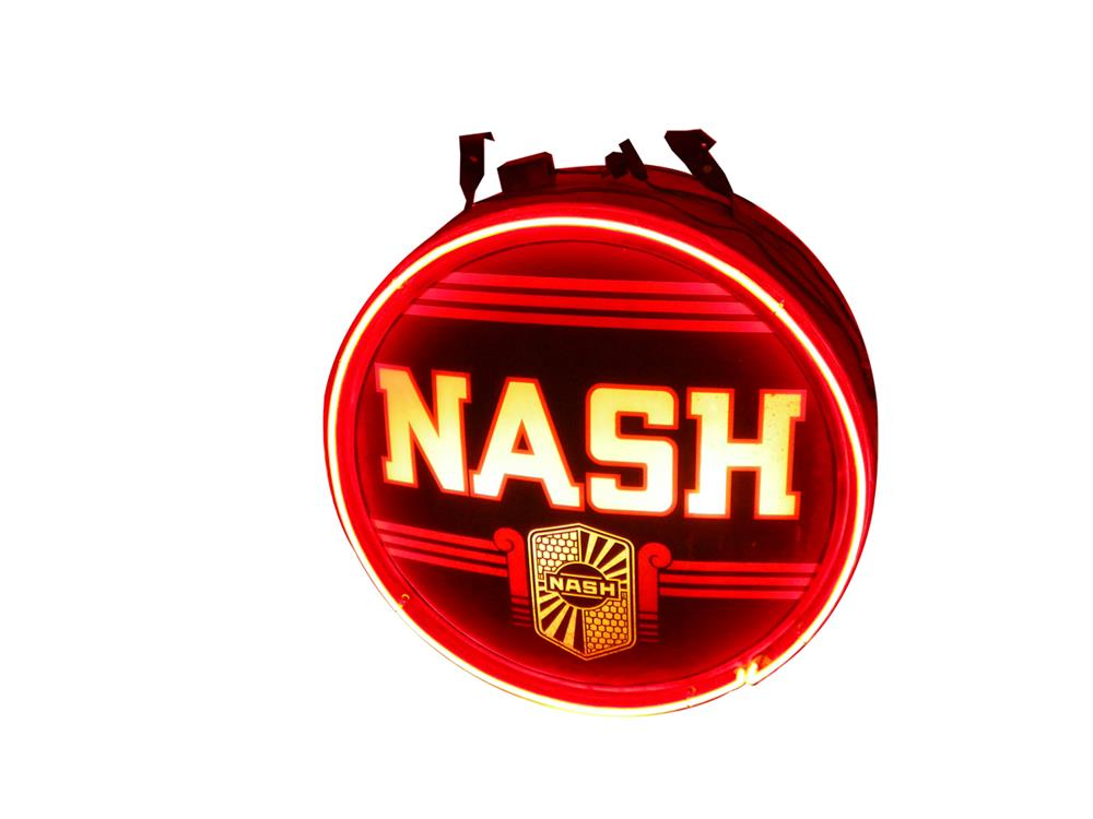 Rare 1930's Nash Automobiles internally lit glass faced with neon dealership sign. - Front 3/4 - 182050