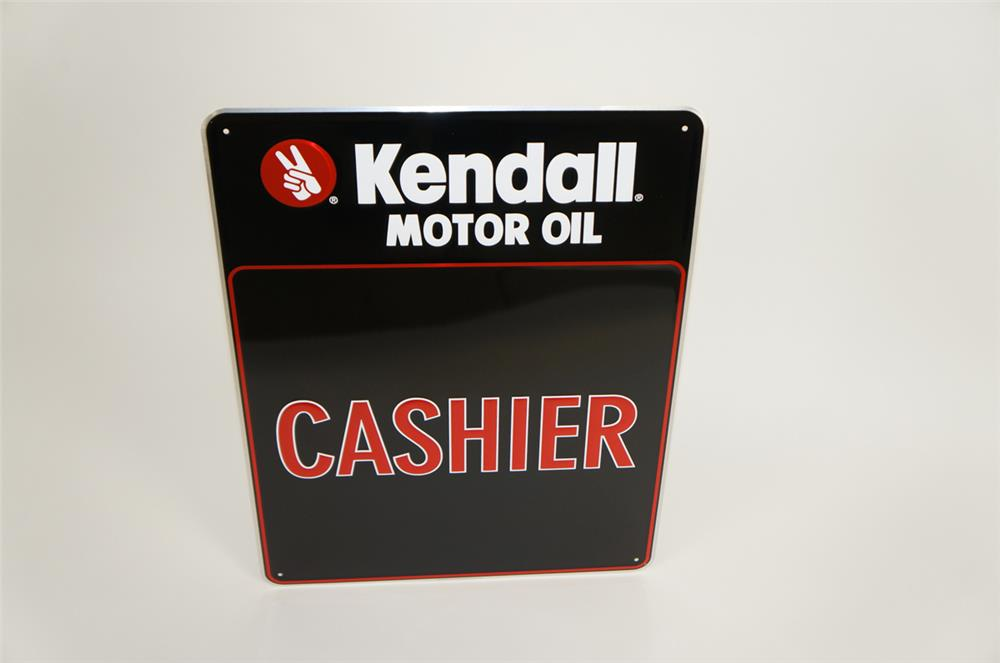 "NOS Kendall Motor Oil ""Cashier"" single-sided tin embossed garage sign. - Front 3/4 - 182152"