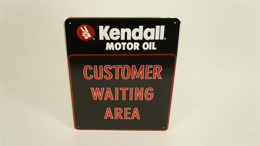 """NOS Kendall Motor Oil """"Customer Waiting Area"""" single-sided tin embossed garage sign. - Front 3/4 - 182154"""