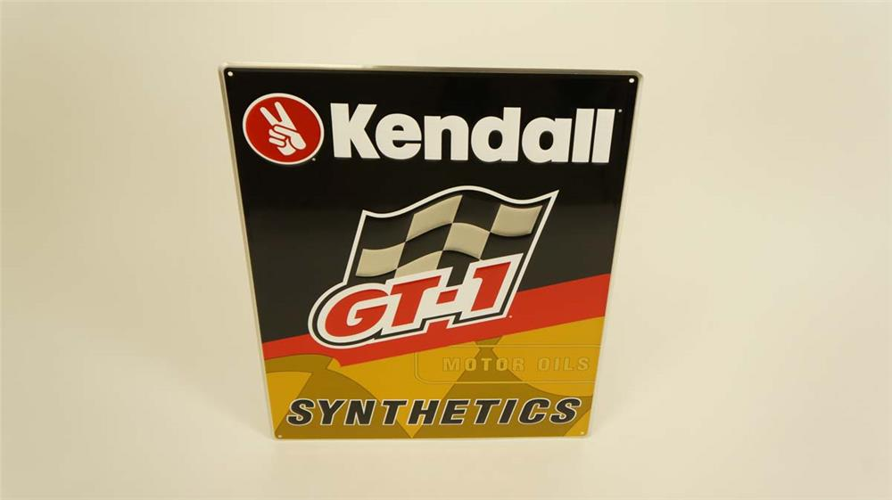 """NOS Kendall Motor Oil """"GT-1 Synthetics"""" single-sided tin embossed garage sign. - Front 3/4 - 182155"""