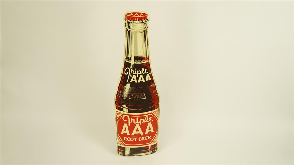 NOS 1948 Triple A Root Beer single-sided die-cut tin bottle shaped sign. - Front 3/4 - 182157
