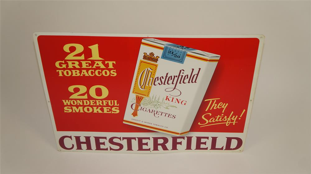 NOS late 1950's Chesterfield Cigarettes single-sided embossed tin sign - Front 3/4 - 182159