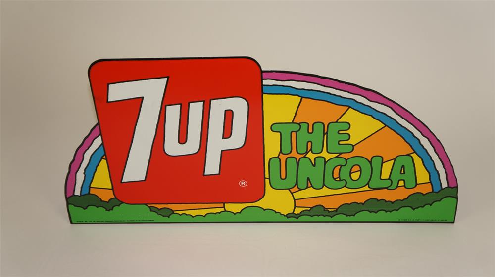 NOS Groovy late 1960's 7-up tin sign with Peter Max-esque artwork. - Front 3/4 - 182160