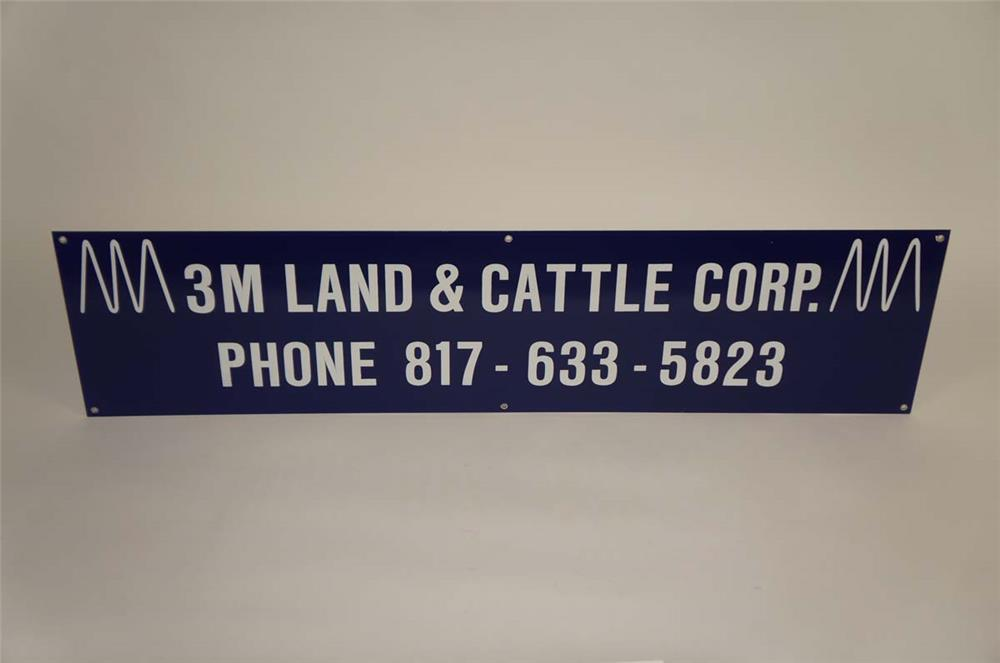 Large 3M Land and Cattle Corporation single-sided porcelain sign. - Front 3/4 - 182167