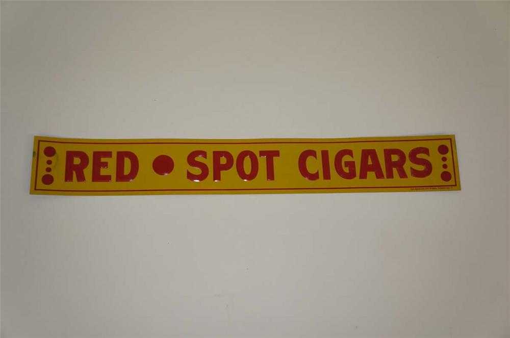 NOS 1930s Red Spot Cigars single-sided embossed tin sign found unused. - Front 3/4 - 182169