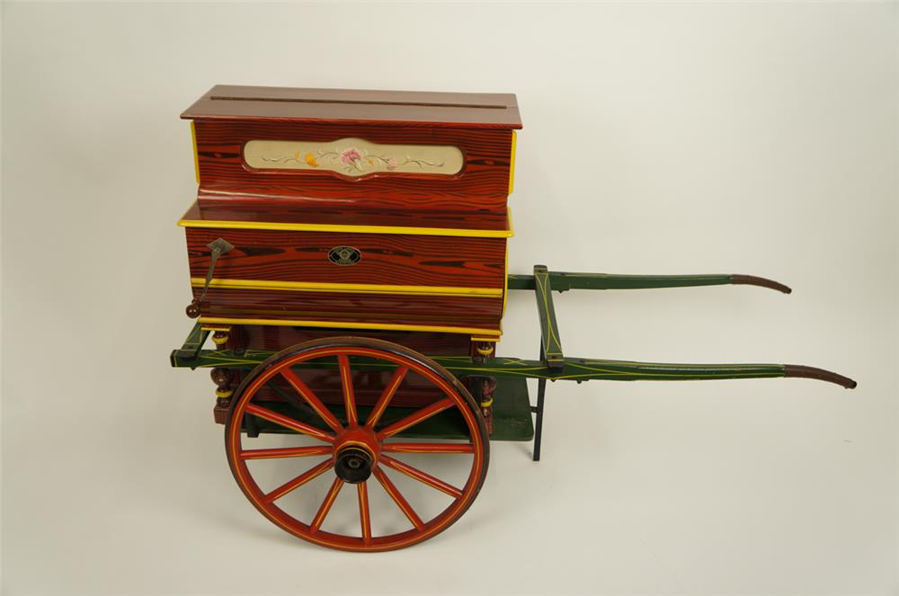 "1930's Vicente Linares ""Faventia"" ""Herdy Gerdy"" hand crank player piano on goat cart. - Front 3/4 - 182181"