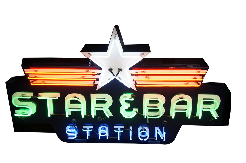 "1930's-40's restored Texas Oil Company ""Star-and-bar"" service station double-sided neon sign - Front 3/4 - 182183"
