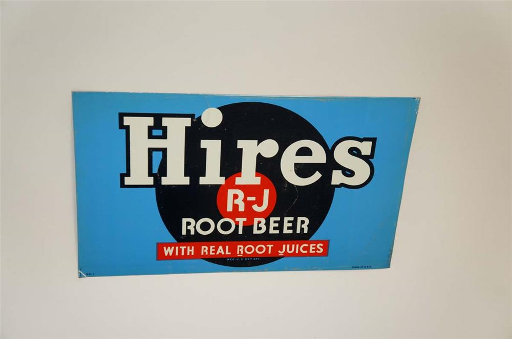NOS 1930's Hires R-J Root Beer single-sided tin soda fountain cooler insert sign. - Front 3/4 - 182185