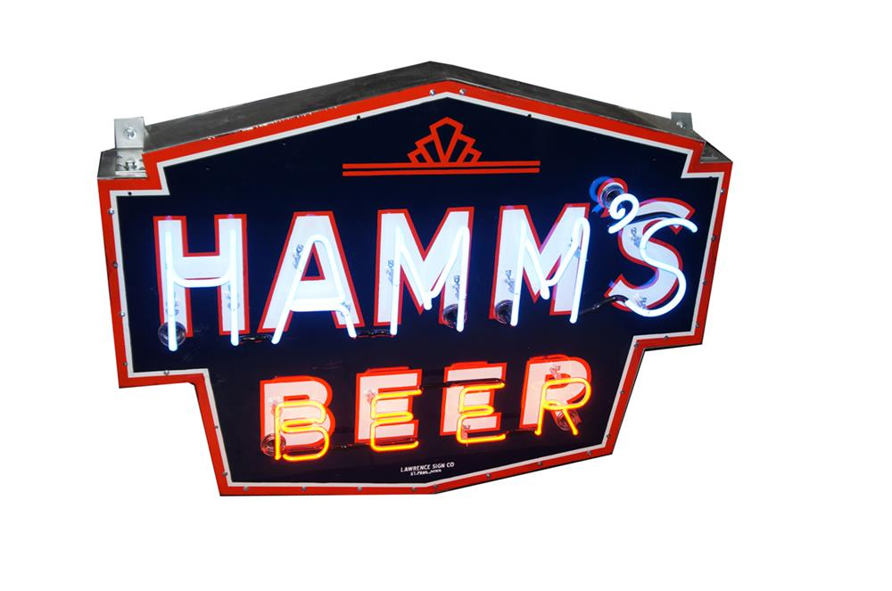 1940's Hamm's Beer single-sided neon porcelain tavern sign. - Front 3/4 - 182196