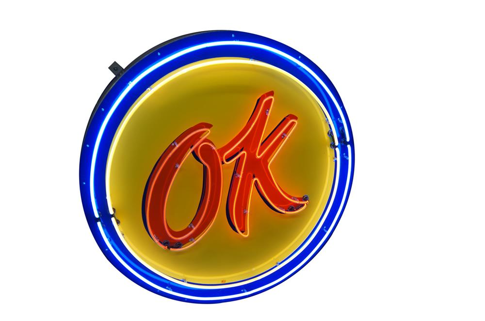 1950's Chevrolet OK Used Cars single-sided neon porcelain dealership sign. - Front 3/4 - 182197