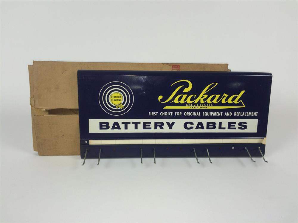 NOS 1950's Packard Battery Cables single-sided tin service department rack - Front 3/4 - 182202