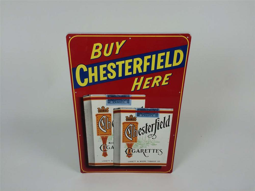 "NOS 1950's Chesterfield Cigarettes ""Buy Here"" single-sided tin sign - Front 3/4 - 182204"