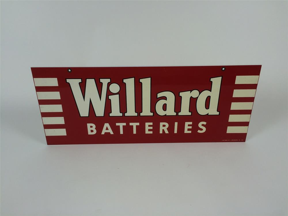 NOS 1952 Willard Batteries double-sided tin automotive garage sign. - Front 3/4 - 182205