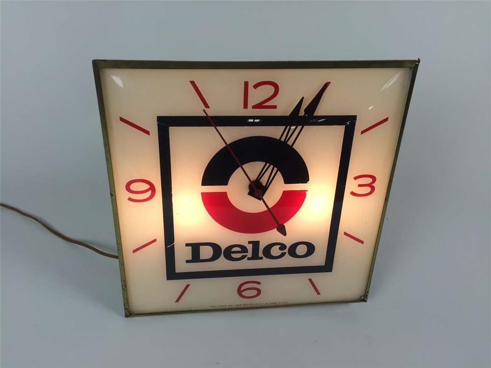 1960's GM Delco glass faced light-up dealership clock by Pam Clock Company. - Front 3/4 - 182208