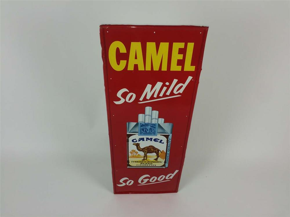 "1960's Camel Cigarette ""So Mild-So Good"" single-sided tin sign - Front 3/4 - 182209"