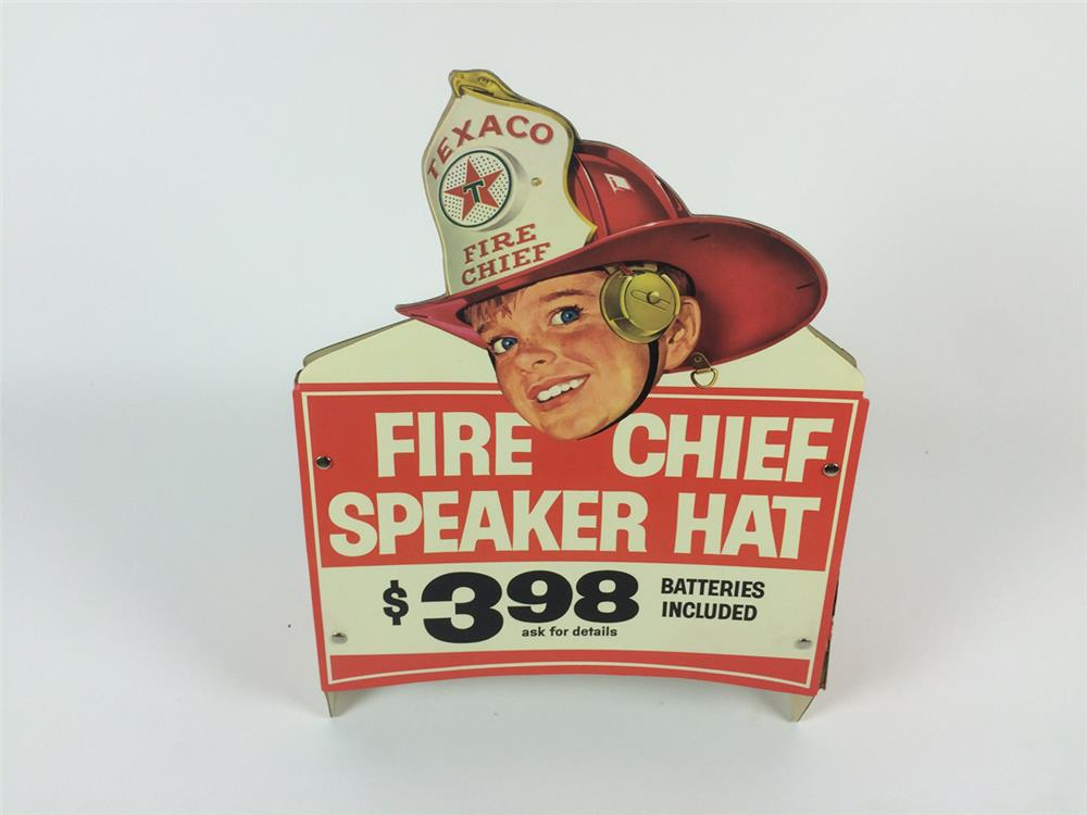 NOS. early 1960's Texaco Fire Chief Speak Hat three-dimensional store display. - Front 3/4 - 182216