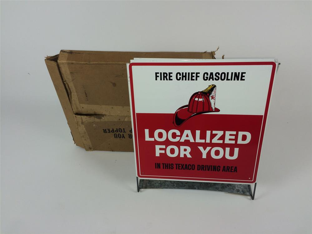 "NOS 1960's Texaco Fire Chief Gasoline ""Localized for you"" double-sided tin service station display sign - Front 3/4 - 182217"