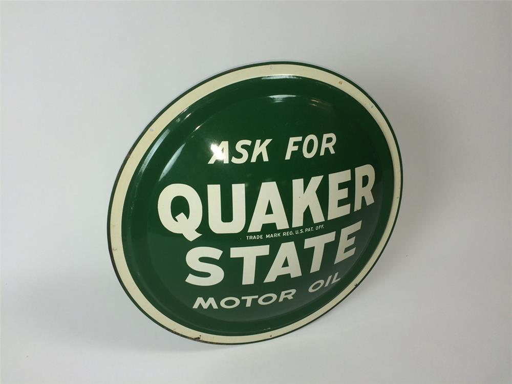 NOS Quaker State Motor Oil single-sided three-dimensional service station sign. - Front 3/4 - 182219