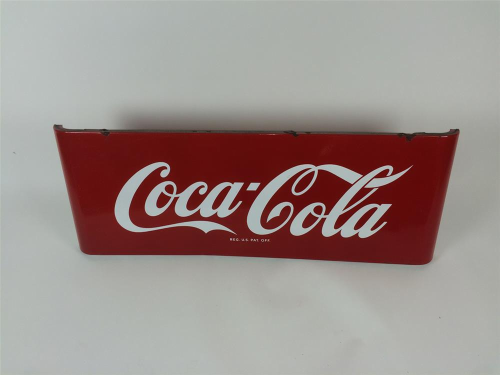 1950's Coca-Cola single-sided porcelain mansard style diner sign. - Front 3/4 - 182220