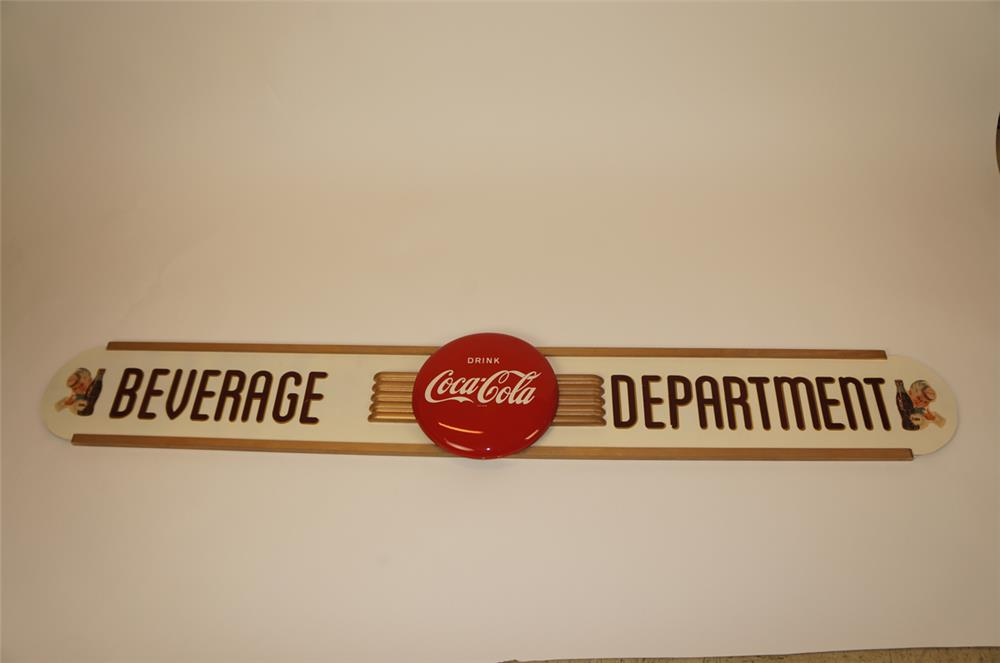 NOS. late 1940's Coca-Cola Kay Display Beverage Department winged sign - Front 3/4 - 182223