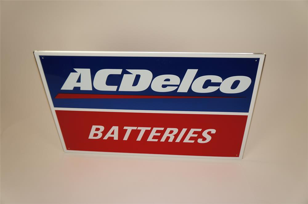 NOS newer AC Delco Batteries single-sided tin automotive garage sign - Front 3/4 - 182225