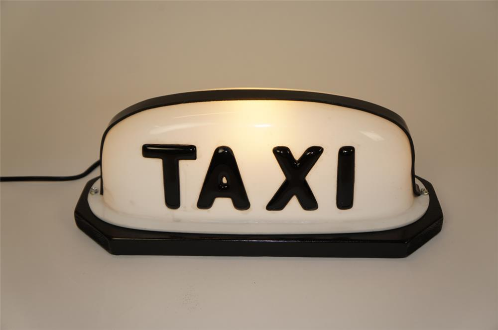 Neat 1950's Taxi Marquee sign displays with lit base. - Front 3/4 - 182231