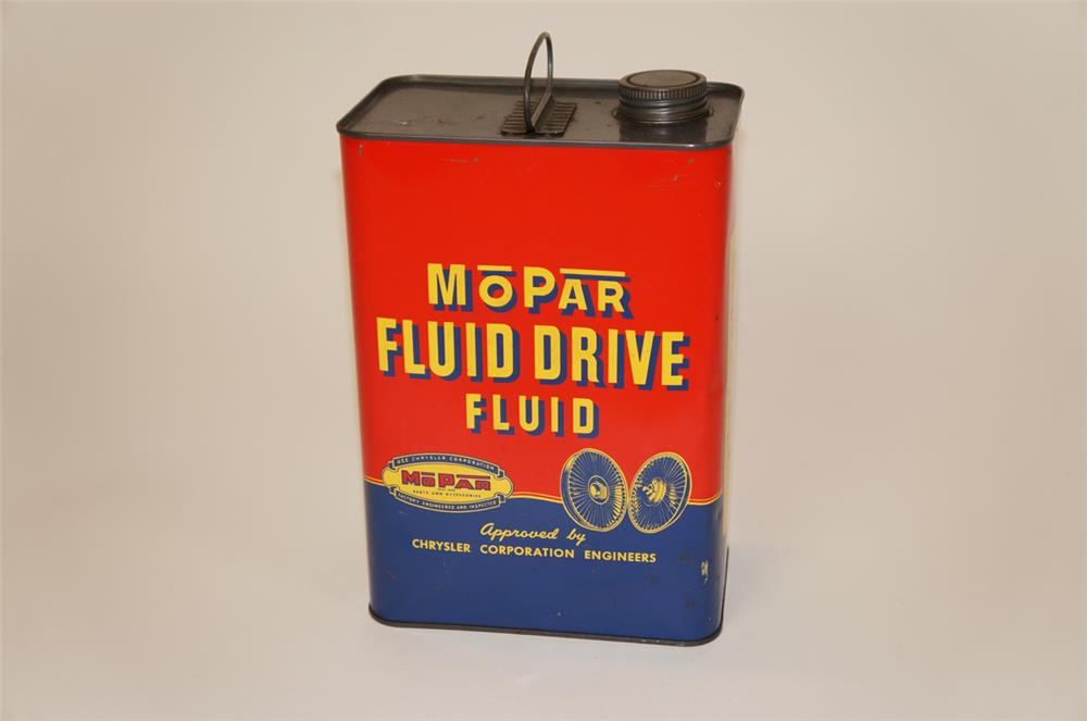 1950's Mopar Fluid Drive Fluid one gallon tin still full. - Front 3/4 - 182235