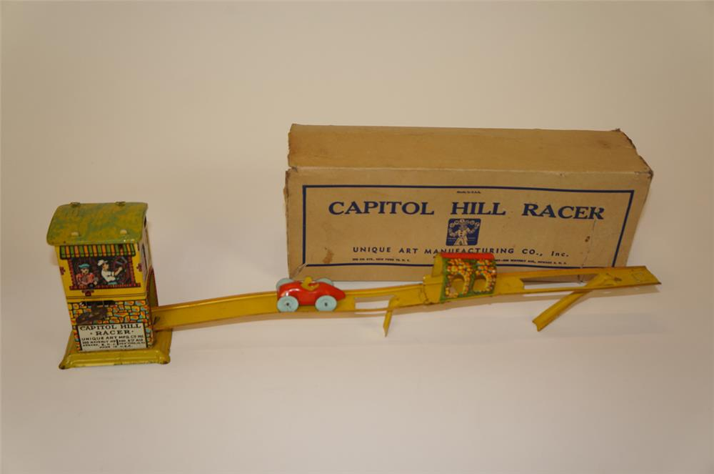 NOS 1930's Capitol Hill Racer tin litho wind-up toy by Unique Arts. - Front 3/4 - 182240